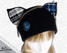 Cat Kitty Fleece Hat  Anime Cosplay Punk JRock  por LokisaFashion