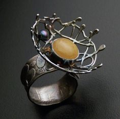 Ring | Robert Lopez (Rockn Designs).  Oxidized silver, agate stone and pearl