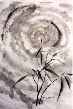 Bamboo and moon - Moon Lit - by Jean Kigel, Brunswick, Maine