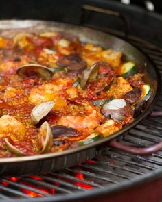 Seafood Paella on the grill! This recipe could be adapted for stovetop.