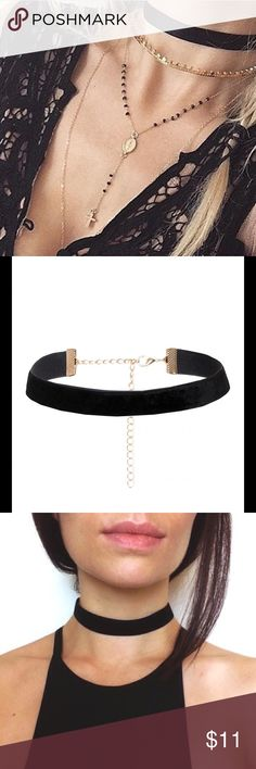 "Tara Velvet CHOKER NEW The Tara Choker is right between the thick black and skinny Velvet CHOKER.  CHOKER measures 11"" - 14.5"" long 3/4 "" wide. Not Nasty Gal Nasty Gal Jewelry Necklaces"