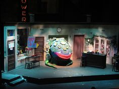 Little Shop of Horrors set by Melissa Shaffer. Production inspiration for my own...