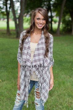 Stolen Kisses Brown Plaid Cardigan!
