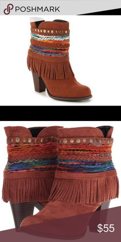 "NWT Dolce by Mojo Moxy Vegan Fringe Booties New in box vegan leather Western booties with fringe.  Heel measures approximately 3.5"". Padded inner sole. True to size. Rust / Camel color. Cute with dresses or jeans. Festival Ready! Dolce by Mojo Moxy Shoes Ankle Boots & Booties"