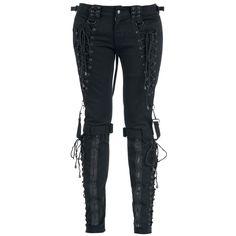 Gothicanan Broken Puppet -housut, joissa on nyöritys ja irrotettavat remmit sekä takana vetoketjut, joilla voidaan säätää lahkeen leveyttä.