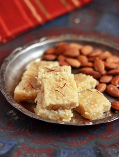 Badam burfi recipe | Diwali 2015 sweets recipes | Cook click n devour!!! (Almonds, sugar, water)