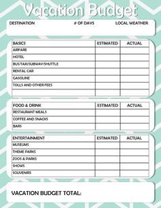 Free Printable Vacation Travel Budget Worksheet With Images