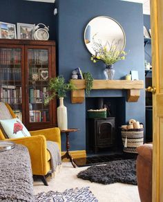 A Story of Home – farrow & ball inchyra blue living room mustard velvet armchair log burner period home details decor inspiration How would you go about designing a neutral bedroom. Farrow And Ball Living Room, Blue Living Room, Mustard Living Rooms, Living Room Chairs, Living Room Grey, Blue Living Room Decor, Living Room Wall Color, Cosy Living Room, Blue Walls Living Room