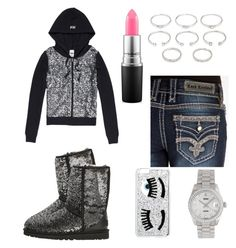 """""""Killing Your Girl Dreams Have You Seen Me In My Jeans"""" by miyaaonfleek02 ❤ liked on Polyvore featuring UGG Australia, Rock Revival, Rolex, Chiara Ferragni, Forever 21, MAC Cosmetics, women's clothing, women, female and woman"""