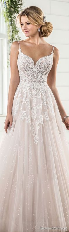 essense australia fall 2017 bridal spaghetti strap sweetheart neckline heavily embellished bodice romantic blush color a line wedding dress open scoop back sweep train (63) lv -- Essense of Australia Fall 2017 Wedding Dresses