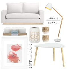 An inspirational home set of a minimal living room that combines a stylish white sofa with natural wood furniture and white decorative items.  #homedecor #decoration #livingroom #getthelook #shopping #white #minimal