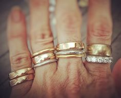 We're heading to a family wedding today but before we left, I decided to stack up some of our lovely wedding bands. Some are truly antiques (late Stacked Wedding Rings, Beautiful Wedding Rings, Wedding Rings For Women, Wedding Bands, Antique Jewelry, Bling Bling, Accesorios Casual, Wedding Ring Designs, Shoes