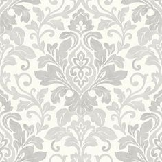 Mozart Silver (414603) - Arthouse Wallpapers - A classic damask design with a contemporary shabby chic twist. Shown in the Silver grey colourway. Please request sample for true colour match.
