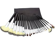Yoa 24 Piece Makeup Brushes Set Includes 19 Pcs Natural Synthetic bristle With 5 Pcs Horse Hair Black Makeup brush Bag *** To view further for this item, visit the image link.