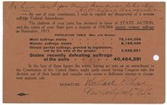 Wallace Ellis sent this postcard opposing the passage of the 19th Amendment to the Constitution to New York Congressman Homer P. Snyder. The amendment would grant women the right to vote on a national basis. Ellis's opposition was in vain, as Congress passed a resolution proposing the amendment in 1919. (National Archives, ARC 1633884)