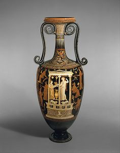 Terracotta loutrophoros (ceremonial vase for water)  Attributed to the Metope Painter  Period: Late Classical Date: 3rd quarter of the 4th century B.C. Culture: Greek, South Italian, Apulian Medium: Terracotta