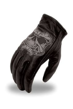 Reflective Skull Driving Gloves with Gel Palm and Velcro Closure
