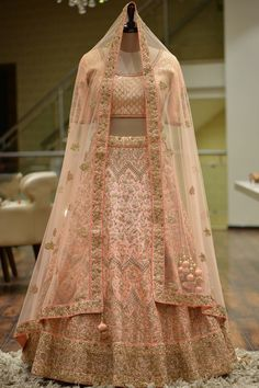 Pitta Embroidered Silk Bridal Lehenga Peach Pitta Embroidered Raw Silk Bridal Lehenga-Choli At Designer Bridal Lehenga, Bridal Lehenga Online, Indian Bridal Lehenga, Choli Designs, Lehenga Designs, Indian Dresses, Indian Outfits, Raw Silk Lehenga, Floral Lehenga