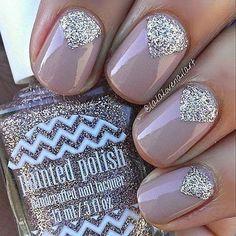 Purple With Silver Glitter Diamond Patterns Nail Design
