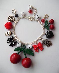 Ultimate Rockabilly Cherries Charm Bracelet by RockerDollJewellery, £8.99  VERY CHARMING :)