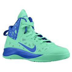 Nike Hyperfuse 2013 - Boys' Grade School - Basketball - Shoes - Green Glow/Game Royal size 5.5