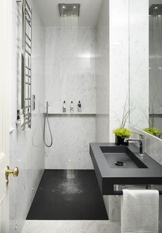 Best Small Bathroom Ideas - Bathroom Designs for Small SpacesLose the bathtubConcrete and wood textures Bathroom Bathroom Inspo Bathroom renovation .Concrete and wood textures bathroom bathroom inspo bathroom renovations bathroom . Modern Small Bathrooms, Modern Bathroom Design, Bathroom Interior, Small Narrow Bathroom, Bathroom Designs, Bathtubs For Small Bathrooms, Parisian Bathroom, Modern Sink, Country Bathrooms