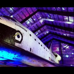 Projecting a space scene above Shuttle Endeavour. #eventlighting