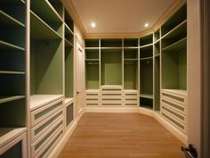 Green painted backs- I have seen quite a few attempts at color in the closet, but I think this is one of the best. Looks clean and cherry without being overwhelming