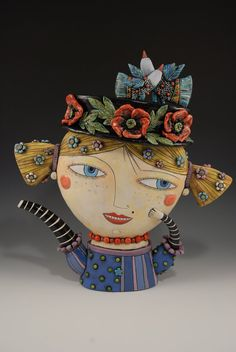 Girl Teapot with Poppy Flowers and Birds Hat by natalyasots, $1400.00