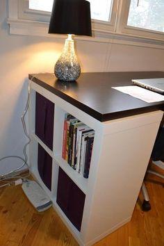 Great suggestion how to 'darken' the white kallax shelving untis! Use 2x2 kallax to make a desk