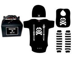 Rockstar Baby Gift Set punk rock shower infant t-shirt onesie bib hat legs black on eBay!