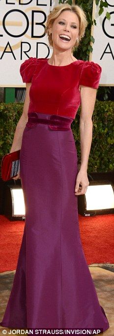 Classy in crimson: Jessica Lange sported a draped velvet number while Julie Delpy looked resplendent in scarlet while Julie Bowen wore red a...