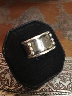 Sterling silver wide band ring oxidized with silver by SilverofOz, $175.00