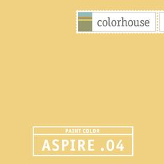 Colorhouse ASPIRE .04:  Bold yellow. Late afternoon sun. Use in entry ways, living rooms, & large spaces.