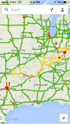 """Fascinating: Go to Google Maps. Turn on traffic. Zoom out to see all of US. You can see the snowy weather corridor."""