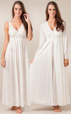 Shadowline Silhouette Long Nightgown/Robe Peignoir Set - Ivory