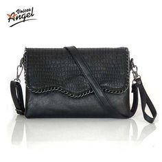 Hot Flap V Women's Luxury Leather Black Clutch Bag Ladies Handbags ...
