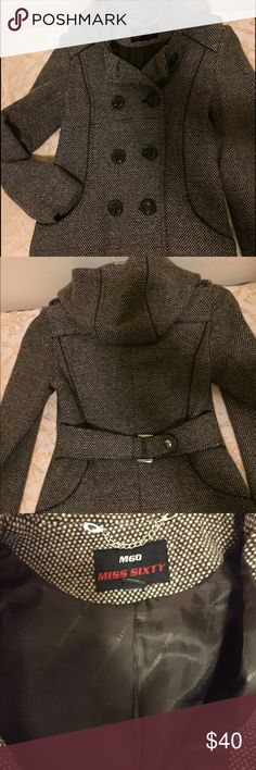 Miss Sixty Petite Hooded Tan Brown Wool Tweed Coat Petite size XS. Hits at hip. Attached hood. Two hidden pockets at sides. Has minor pilling under the sleeves. Miss Sixty Jackets & Coats Pea Coats