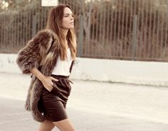 acca leather skirt, t-shirt helmut lang and fur isabel marant