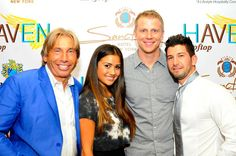Me and my dad Freid with The Bachelor star Sean Lowe and his new fiancèe Catherine Giudici Haven Rooftop, One Year Anniversary, In The Heart, Times Square, Dads, New York, Star, Celebrities, First Anniversary