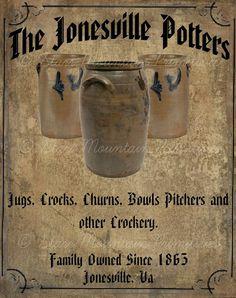 Primitive Vintage Crocks Pottery  Jpeg Digital  by Starrmtnprims