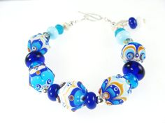 Blue White Abstract Lampwork Glass Bead Bracelet, Handmade Lampwork Jewelry