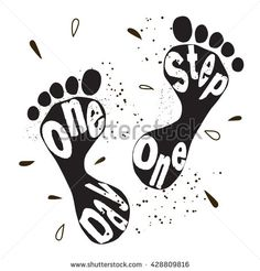 Hand drawn lettering poster with a phrase One day one step, grunge spots backgroung. Cute image, two isolated black footstep printout. Vector art. Motivational coaching design for t-shirt or poster. - stock vector