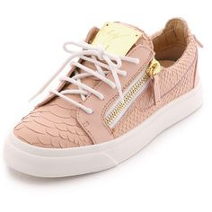 Giuseppe Zanotti Leather Sneakers featuring polyvore, fashion, shoes, sneakers, flats, zapatos, pink, pink shoes, leather low top sneakers, leather lace up sneakers, lace up flats and giuseppe zanotti shoes