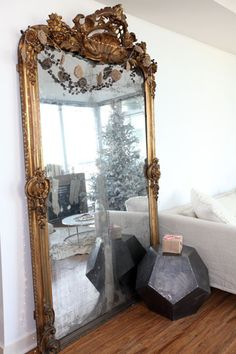 Large scale mirror, Photos by Janis Nicolay for Style at Home. Similar French-style mirror needed for sitting room. Style At Home, Decor Interior Design, Interior Decorating, Holiday Decorating, Decorating Ideas, Decoration Baroque, Luxe Decor, Vintage Mirrors, Large Vintage Mirror