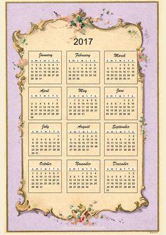 FREE printable 2017 vintage design calendar