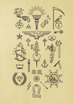 Pictograms BnomioTattoo. These would make rad nail transfers or decals