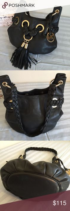 """MK soft leather bucket bag 9""""x12"""" with 13"""" strap drop.. Absolutely stunning bag always get compliments. Gold hardware two tassels and braided design very nice bag. The leather is amazing.. outside is EUC interior has been messsed up with a hard candy that is stuck to the material. Still amazing bag and fully functional Michael Kors Bags Shoulder Bags"""