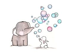 Elephant & Bunny Blowing Bubbles