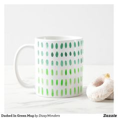Dashed In Green Mug A modern and minimal watercolour pattern , in tones of the Pantone Colour of the Year- Greenery. Fresh and zesty , a lovely way to add a dash of a Greenery to interiors or brighten your office desk.
